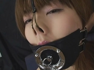 Japanese lady ball-gagged and inhale fuckpole