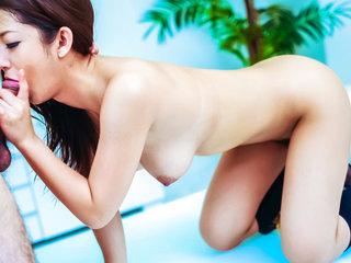 Satomi Suzuki in her college uniform is detained for sex plaything use in school.