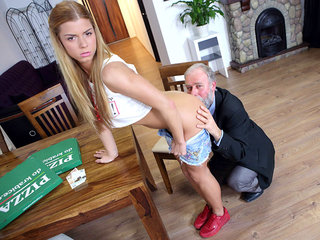 Chrissy Fox has the cutest teen vag ever and this elderly dude gets to smash it