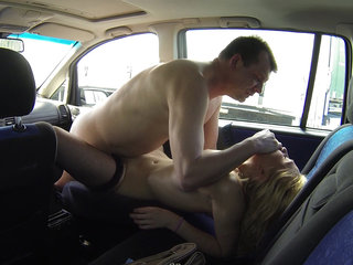 Beautiful Young Blonde Bitch Picked up to Car